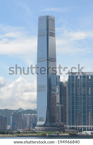 HONG KONG - MAY 25: The International Commerce Centre on May 25, 2014 in Hong Kong. ICC is a commercial space luxury residential development, modern retail and two 6-star hotels in a single location.