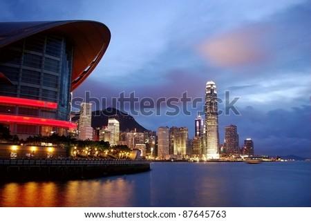 Hong Kong night view - stock photo