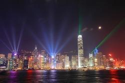 Hong Kong night view in panorama