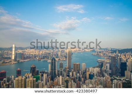 HONG KONG-November 01 : View of Hong Kong from Victoria Peak in Hong Kong, China. on November 01, 2015 in Hong Kong, China. #423380497