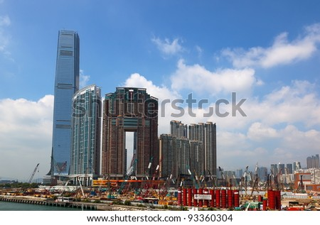 HONG KONG - OCTOBER 01: Building site on reclaimed land on October 01, 2010 in Hong. Kong Hong's highest skyscraper - International Commerce Centre, is built also on reclaimed.