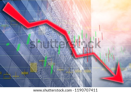 Hong Kong Office buildings with graph index of stock Market ((red bear chart)