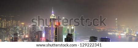 Hong Kong panorama at night.