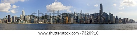 Hong Kong panorama of city on a beautiful blue sky day. Victoria Harbour from Kowloon - stock photo