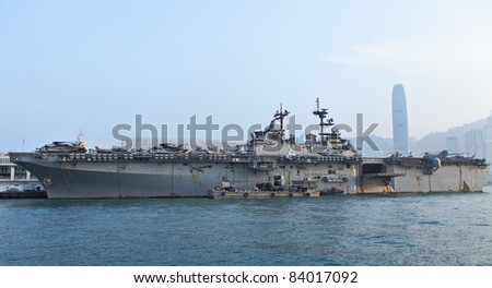 HONG KONG - SEP 3: USS Boxer(LHD-4) in Hong Kong. The USS Boxer (LHD-4) is a Wasp-class amphibious assault ship of the United States Navy ,  Sep 3nd, 2011 in Hong Kong