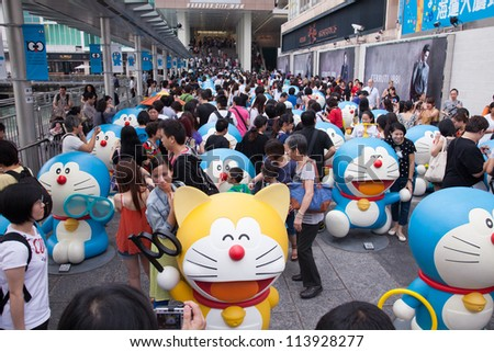 HONG KONG - SEPTEMBER 14: Hong Kong largest Doraemon Exhibition at Harbour city, Hong Kong on September 14, 2012. It is the early celebration of Doraemon's birth 100 years early.