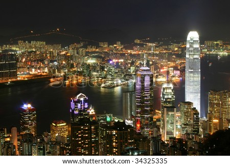 Hong Kong skyline at night. Thousand of skyscraper on two side of Victoria Harbour of Hong Kong.  View from the Peak at night.