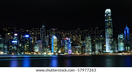 Hong Kong skyline during night with spectacular lights
