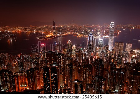 Hong Kong skyline from Victoria Peak, at night. View of the island and Kowloon sides.