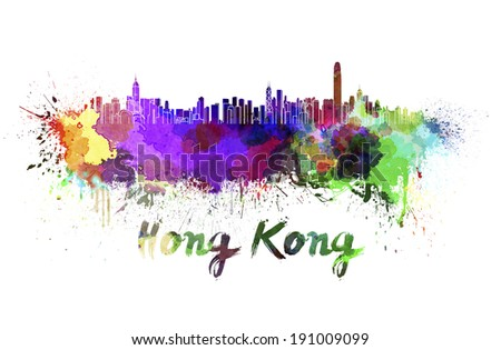 Hong Kong skyline in watercolor splatters with clipping path