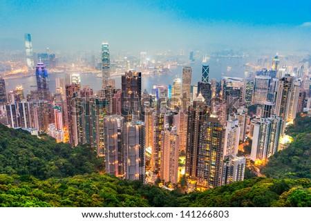 Hong Kong skyline. View from Victoria Peak. Stockfoto ©