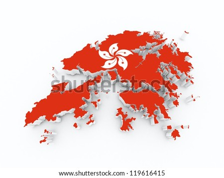hong kong state flag on 3d map