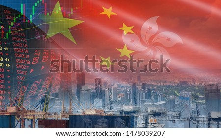 Hong Kong stock exchange market trading graph business crisis red price down chart fall finance economy Free Hong Kong from china effects of Protest rally extradition bill and trade wars export import