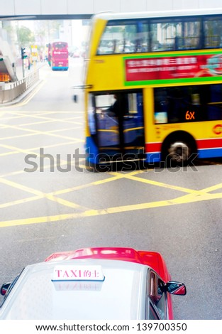 Hong Kong traffic. Blurred motion