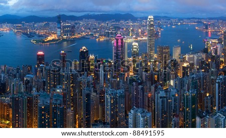 Hong Kong Victoria Harbour View, top night view from peak