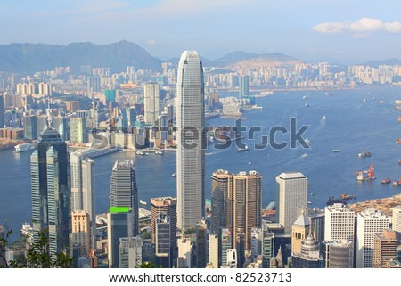 Hong Kong view at day time with mild color tone