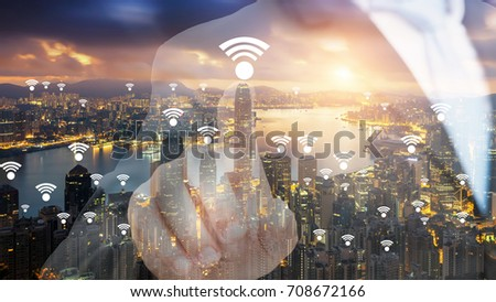 Hong Kong wifi network connection network. Wifi network connection concept. #708672166