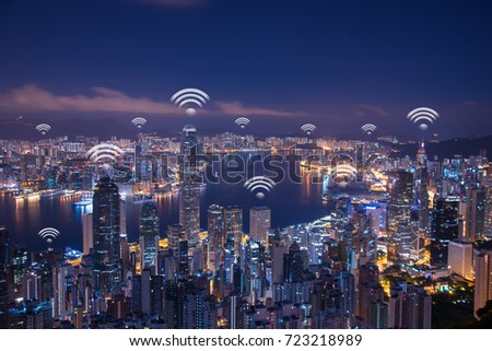 Hong Kong wifi network connection network. Wifi network connection concept. #723218989