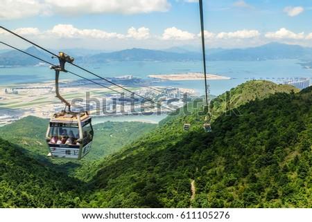 Hongkong mountains landscape from cablecar way to Nongping village