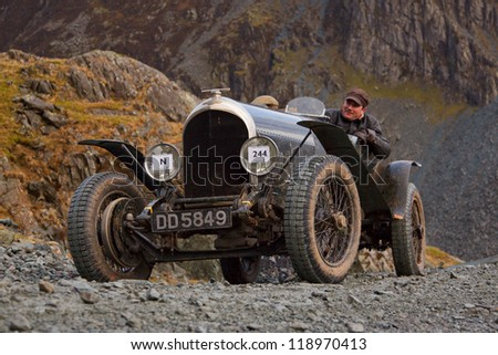 HONISTER PASS, ENGLAND - NOVEMBER 10: A Bentley sports car competes in The Honister Vintage Hill Climb in the English Lake District.  The Vintage Sports Car Club event took place on November 10, 2012.