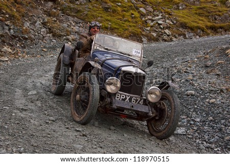 HONISTER PASS, ENGLAND - NOVEMBER 10:  A Riley sports car competes in The Honister Vintage Hill Climb in the English Lake District.  The Vintage Sports Car Club event took place on November 10, 2012.