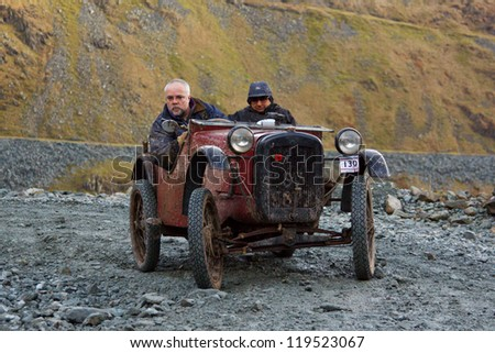 HONISTER PASS, ENGLAND - NOVEMBER 10:  An Austin sports car competes in The Honister Hill Climb in the English Lake District.  The Vintage Sports Car Club event took place on November 10, 2012.