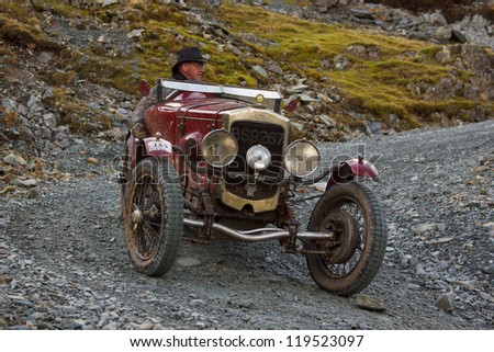 HONISTER PASS, ENGLAND - NOVEMBER 10:  An Frazer Nash sports car competes in The Honister Hill Climb in the English Lake District.  The Vintage Sports Car Club event took place on November 10, 2012.