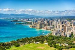 Honolulu city view from Diamond Head lookout, Waikiki beach landscape background. Hawaii travel.