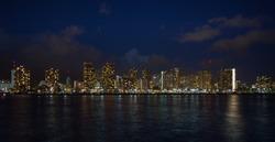 Honolulu downtown at night, Oahu Hawaii