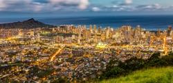 Honolulu from the Tentalus Drive, Oahu, Hawaii