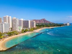 Honolulu, Hawaii. Aerial skyline view of Honolulu, Diamond Head volcano including the hotels and buildings on Waikiki Beach.
