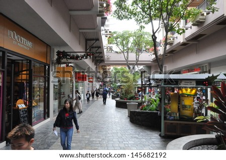 HONOLULU, HAWAII - DECEMBER 24: Ala Moana Center, the largest shopping mall in Hawaii, as seen on December 24, 2012 in Honolulu, Hawaii. It is also largest open-air shopping center in the world.