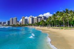 Honolulu, Hawaii. Waikiki beach and Honolulu's skyline.