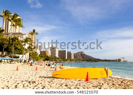 Honolulu, HI, USA - November 25, 2016: Waikiki Beach and Diamond Head: Waikiki Beach is the most famous beach in front of luxury hotels in Honolulu. Diamond Head is the name of a volcanic tuff cone.