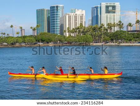 Honolulu, Nov. 29:  High School Team competes for the Hawaii State High School Outrigger Canoe Championships, Honolulu Hawaii, USA, Nov. 29, 2014