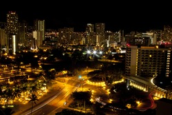 Honolulu skyline night HDR