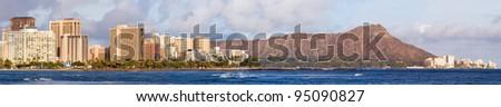 Honolulu skyline panorama with diamond head volcano in Hawaii - stock photo