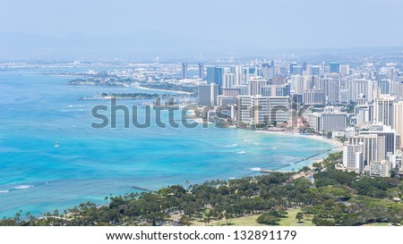 Honolulu skyline with Waikiki beach and seascape
