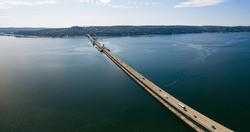 Hood Canal Floating Bridge Aerial Overview Poulsbo Washington USA