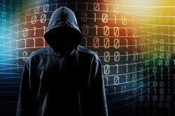 hooded hacker man on numbers background, hack concept