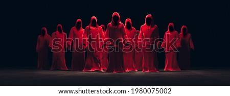 hooded red figures gathering in a dark room. high contrast image. 3D Rendering, illustration