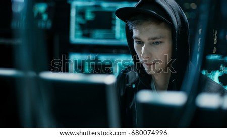 Hooded Teenage Hacker Successfully Attacks Global Infrastructure Servers with Virus. #680074996
