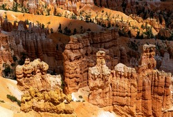 Hoodoo sandstone rock formations, Bryce Canyon national park, Utah, United States of America, USA.