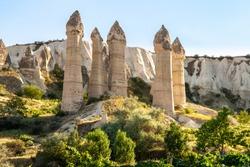 Hoodoos at Göreme at Open air UNESCO world heritage site Museum in Cappadocia, Turkey