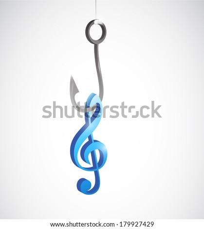 hook and music note illustration design over a white background
