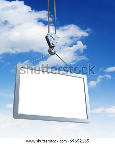 hook holding empty billboard, 3d render - stock photo