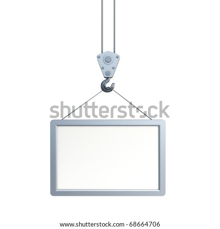 hook holding empty billboard, isolated 3d render