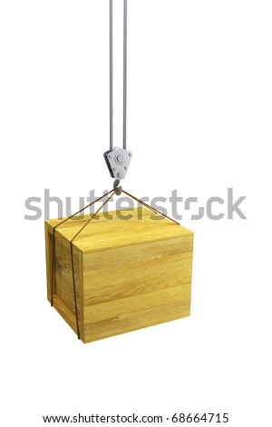 hook holding wooden container, isolated 3d render