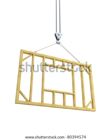 hook holding wooden frame, isolated 3d render