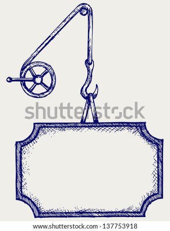 Hook of a crane and banner. Doodle style. Raster version